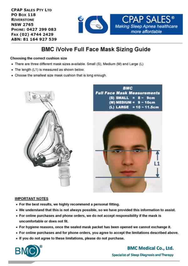 BMC Full Face Mask Size Guide