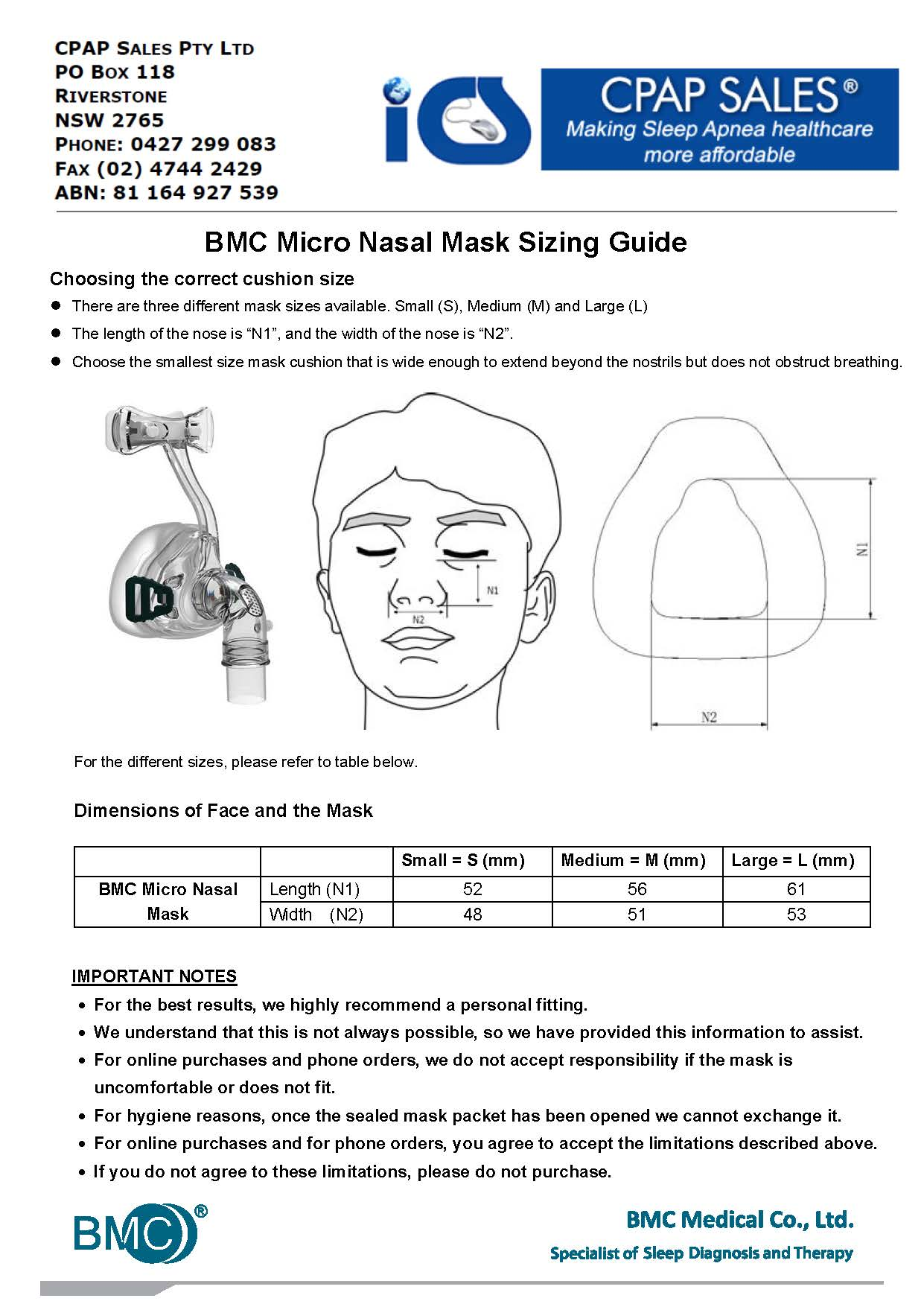 Micro Nasal Mask CPAP Mask Measurement