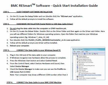 BMC Sleep Therapy Software Quick Start Instal Guide