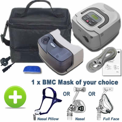 Ex-Demo CPAP Machine Kit with travel bag, humidifier and new BMC mask of your choice